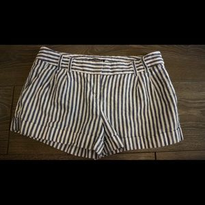 Express Blue & white striped short shorts